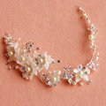 Elegant Bridal Sliver Pearl Crystal Flower Wedding Hairbands Women Frosted Hair Vine Accessories