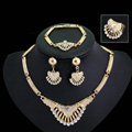 Elegant Fan-shaped Wedding Jewelry Sets Crystal Gold Plated Bridal Necklace Earrings Bracelet Ring 4pcs/set