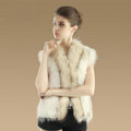 Elegant Genuine Knitted Rabbit Fur Waistcoat With Raccoon Fur Collar Women Warm Vest - Beige