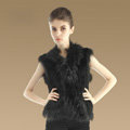 Elegant Genuine Knitted Rabbit Fur Waistcoat With Raccoon Fur Collar Women Warm Vest - Black