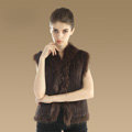 Elegant Genuine Knitted Rabbit Fur Waistcoat With Raccoon Fur Collar Women Warm Vest - Coffee