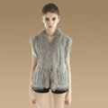 Elegant Genuine Knitted Rabbit Fur Waistcoat With Raccoon Fur Collar Women Warm Vest - Grey