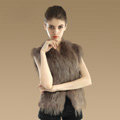 Elegant Genuine Knitted Rabbit Fur Waistcoat With Raccoon Fur Collar Women Warm Vest - Khaki