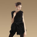 Elegant Genuine Real Raccoon Fur Vest Fashion Women Medium-long With Belt Fur Waistcoat - Black