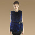 Elegant Genuine Real Raccoon Fur Vest Fashion Women Medium-long With Belt Fur Waistcoat - Blue