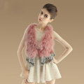 Elegant Nature Turkey Fur Vest With Ostrich Fur Waistcoat Fashion Women Fur Tassels Gilet - Deep Pink