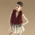 Elegant Nature Turkey Fur Vest With Ostrich Fur Waistcoat Fashion Women Fur Tassels Gilet - Wine Red