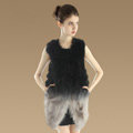 Elegant Unique Genuine Real Raccoon Fur Vest Fashion Women Long Fur Waistcoat - Black Grey