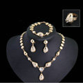 Elegant Wedding Jewelry Sets Gold Plated Bridal Party Crystal Water-drop Necklace Earrings Bracelet Ring 4pcs/set
