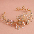 European Baroque Bridal Gold Crystal Flower leaves Wedding Headband Frosted Hair Vine Accessories
