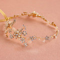 European Bridal Gold Pearl Crystal Flower Wedding Hairbands Women Frosted Hair Vine Accessories