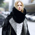 European Fashion Rabbit Fur Large Collar Female Women's Faux Rabbit Fur Scarf Muffler - Black