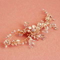 European Retro Bridal Gold Crystal Flower Pearl Wedding Headband Frosted Hair Vine Accessories