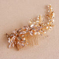 European Style Retro Gold Crystal Beads Pearl Flower Wedding Bridal Headpiece Hair Combs Accessories