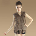 European Women Fashion Knitted Rabbit Fur Waistcoat With Raccoon Fur Tassels Vest - Khaki