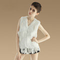 European Women Fashion Knitted Rabbit Fur Waistcoat With Raccoon Fur Tassels Vest - White