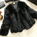 Extre Luxury Genuine Real Whole Fox Fur Coats Fashion Women Short Fur Outerwear - Black
