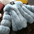 Extre Luxury Genuine Real Whole Fox Fur Coats Fashion Women Short Fur Outerwear - Blue