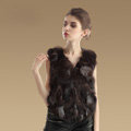 Extreme Luxury Genuine Knitted Silver Fox Fur Vest Women Fashion Fox Fur Waistcoat - Natural Coffee
