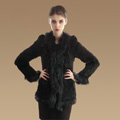 Extreme Luxury Women Kint Rabbit Fur Coats Genuine Raccoon Fur Warm Outerwear - Black
