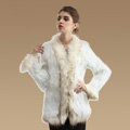 Extreme Luxury Women Kint Rabbit Fur Coats Genuine Raccoon Fur Warm Outerwear - White