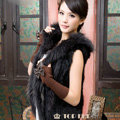 Extreme Luxury Women Natural Rabbit Fur Vest With Hooded Large Raccoon Fur Collar Gilet - Black