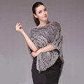 Fashion Delicate knitted Rabbit Fur Shawl Female Party Pullover Women's Triangle Fur Poncho - Natural Grey