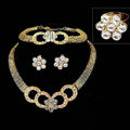 Fashion Flower Crystal Gold Plated Bridal Wedding Jewelry Sets Necklace Earrings Bracelet Ring 4pcs/set