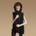 Fashion Queen Real Rabbit Fur Vests Warm kint Women's Raccoon Fur Hooded Waistcoat - Black