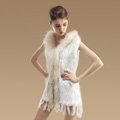 Fashion Queen Real Rabbit Fur Vests Warm kint Women's Raccoon Fur Hooded Waistcoat - White