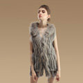 Fashion Real Rabbit Fur Vests Winter kint Women's Raccoon Fur Hooded Gilet - Natural Grey