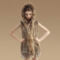 Fashion Real Rabbit Fur Vests Winter kint Women's Raccoon Fur Hooded Gilet - Natural Yellow