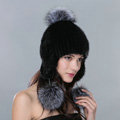 Fashion Winter Genuine Mink Fur Caps With Fox Fur Pom Poms Women Knitted Bomber Hat - Black