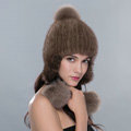 Fashion Winter Genuine Mink Fur Caps With Fox Fur Pom Poms Women Knitted Bomber Hat - Brown