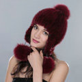Fashion Winter Genuine Mink Fur Caps With Fox Fur Pom Poms Women Knitted Bomber Hat - Wine Red