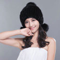 Fashion Winter Real Mink Fur Hat With Fox Fur Pom Poms Women Knitted Beanies Caps - Black
