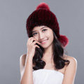 Fashion Winter Real Mink Fur Hat With Fox Fur Pom Poms Women Knitted Beanies Caps - Wine Red