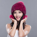 Fashion Winter Real Mink Fur Hat With Fox Fur Pom Poms Women Knitted Ear Protector Caps - Rose Black