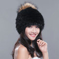 Fashion Winter Real Whole Rabbit Fur Hat With Raccoon Fur Ball Women Knitted Beanies Hat - Black