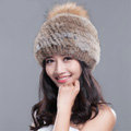 Fashion Winter Real Whole Rabbit Fur Hat With Raccoon Fur Ball Women Knitted Beanies Hat - Brown