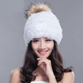 Fashion Winter Real Whole Rabbit Fur Hat With Raccoon Fur Ball Women Knitted Beanies Hat - White