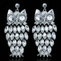 Top Quality Owl Czech Rhinestone Crystal Bridal Earrings White Gold Plated Earrings for Women