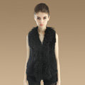 Genuine Knitted Rabbit Fur Vest With Delicate Mongolia Sheep Fur Collar Women Jacket - Black