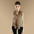 Genuine Knitted Rabbit Fur Vest With Delicate Mongolia Sheep Fur Collar Women Jacket - Brown