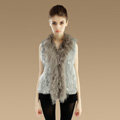 Genuine Knitted Rabbit Fur Vest With Delicate Mongolia Sheep Fur Collar Women Jacket - Grey