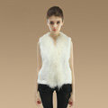 Genuine Knitted Rabbit Fur Vest With Delicate Mongolia Sheep Fur Collar Women Jacket - White