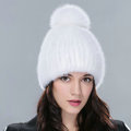 Genuine Whole Mink Fur Hats With Fox Fur Ball Women Winter Knitted Beanies Cap - Pure White