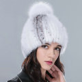 Genuine Whole Mink Fur Hats With Fox Fur Ball Women Winter Knitted Beanies Cap - White Grey