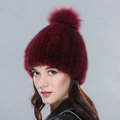 Genuine Whole Mink Fur Hats With Fox Fur Ball Women Winter Knitted Beanies Cap - Wine Red