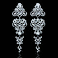 Gorgeous Chandelier Shape Crystal White Gold Plated Long Earrings Wedding Jewelry Earrings for Women